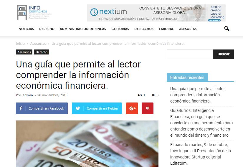 InfoDespachos, medio especializado en el mundo juridico, habla sobre el GuíaBurros: El informe económico financiero